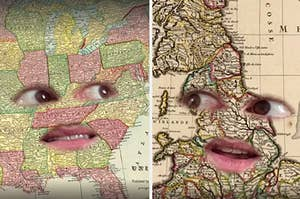 A person on TikTok with the US as their face and with the UK as their face