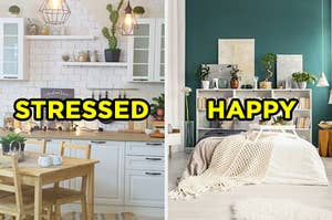 "On the left, a modern kitchen with a tile backsplash, fairy lights, and a wooden kitchen table labeled ""stressed,"" and on the right, an artsy bedroom with a shelf full of books and plants and a bed with throw blankets on it labeled ""happy"""