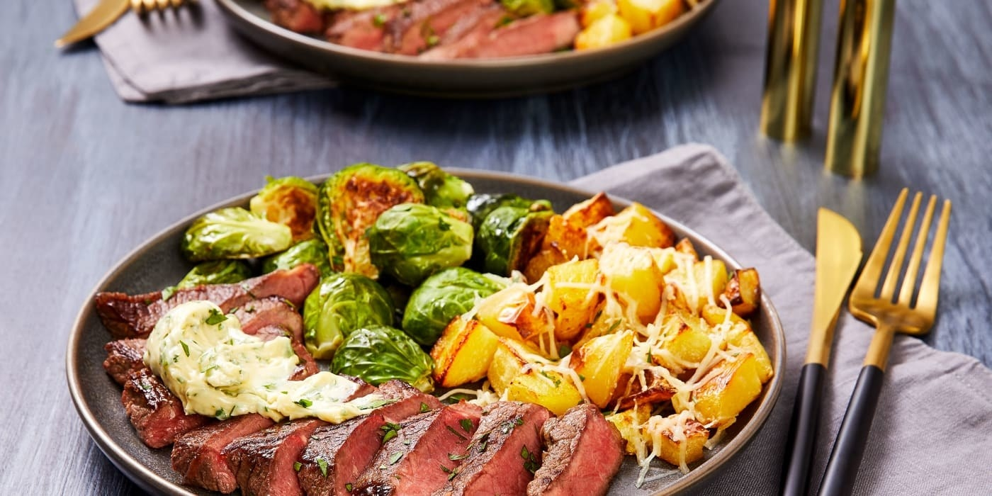 steal, Brussel sprouts, and cheesy potatoes