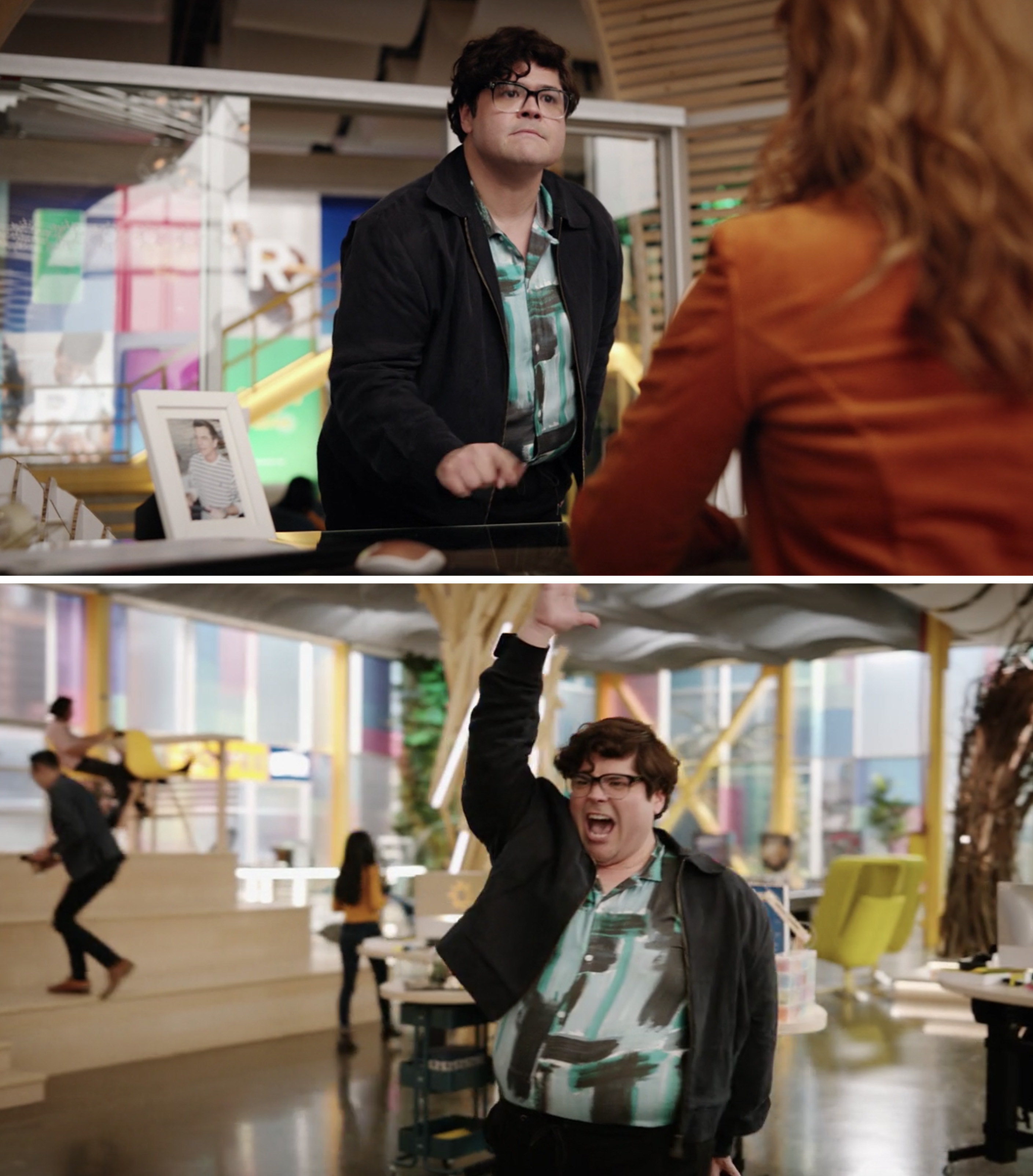 George dancing inside the office