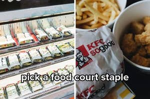 """Side by side image showing a sushi store next to KFC both captioned """"pick a food court staple"""""""