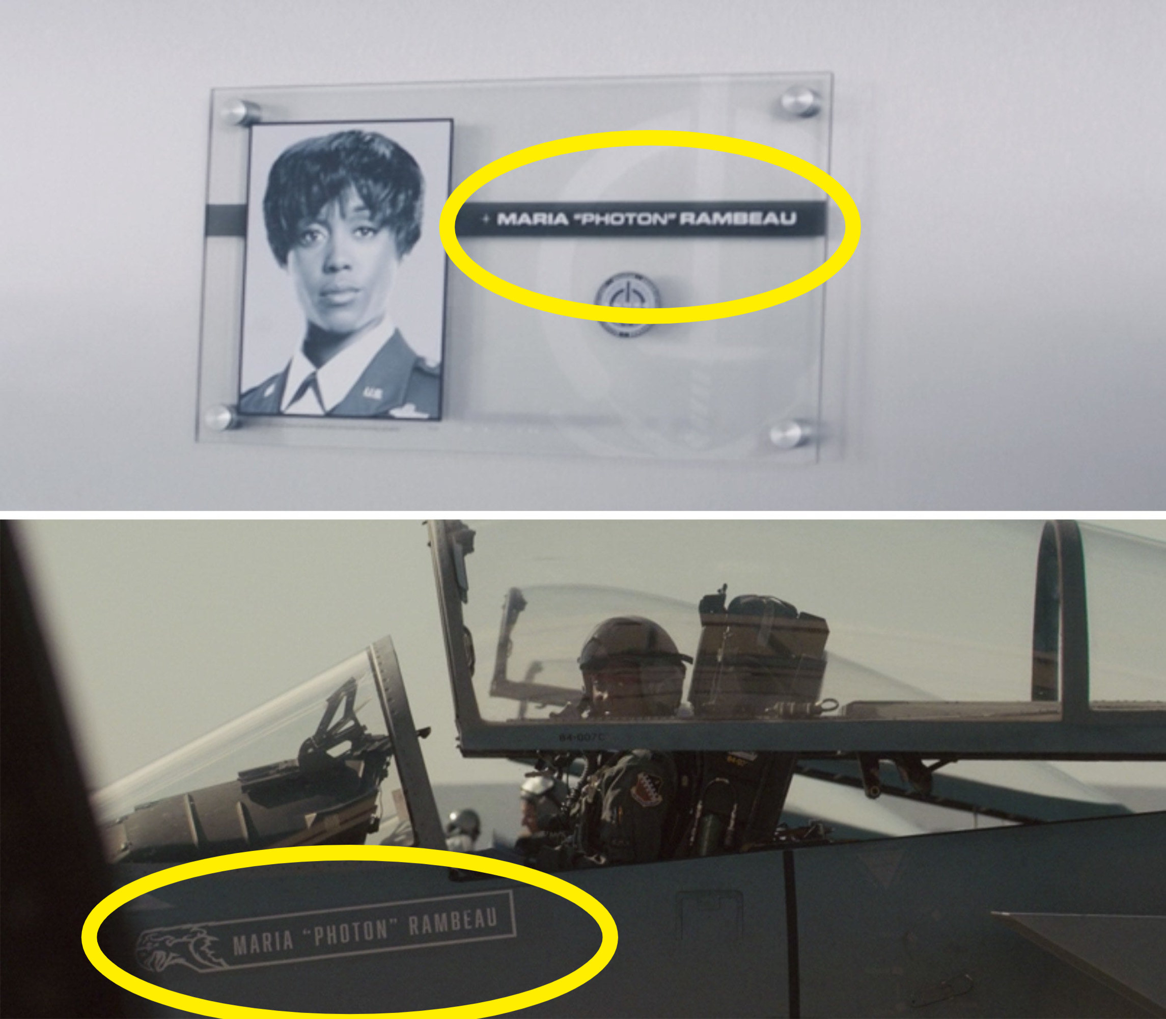 "Maria's plaque inside S.W.O.R.D. vs. Maria ""Photon"" Rambeau written on her jet in ""Captain Marvel"""