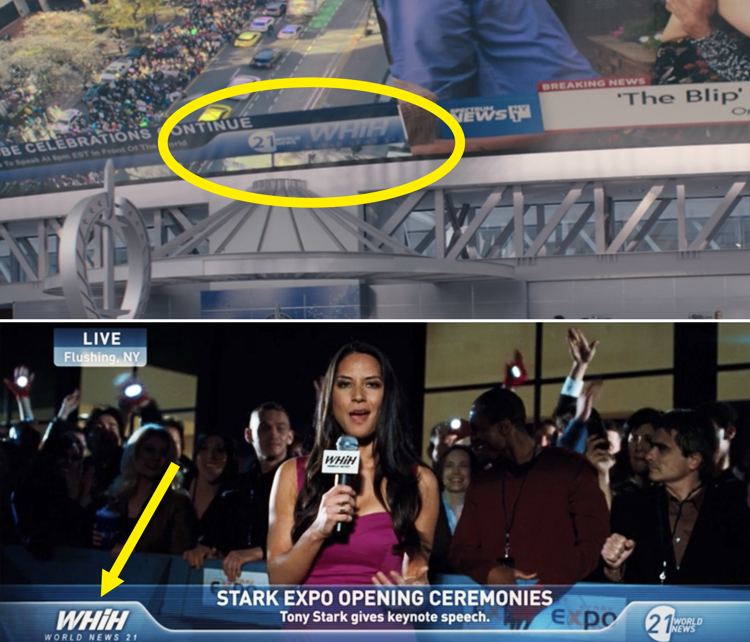 "A circle around the WHiH broadcast in ""WandaVision"" vs. a WHiH broadcast at Stark Expo in ""Iron Man 2"""