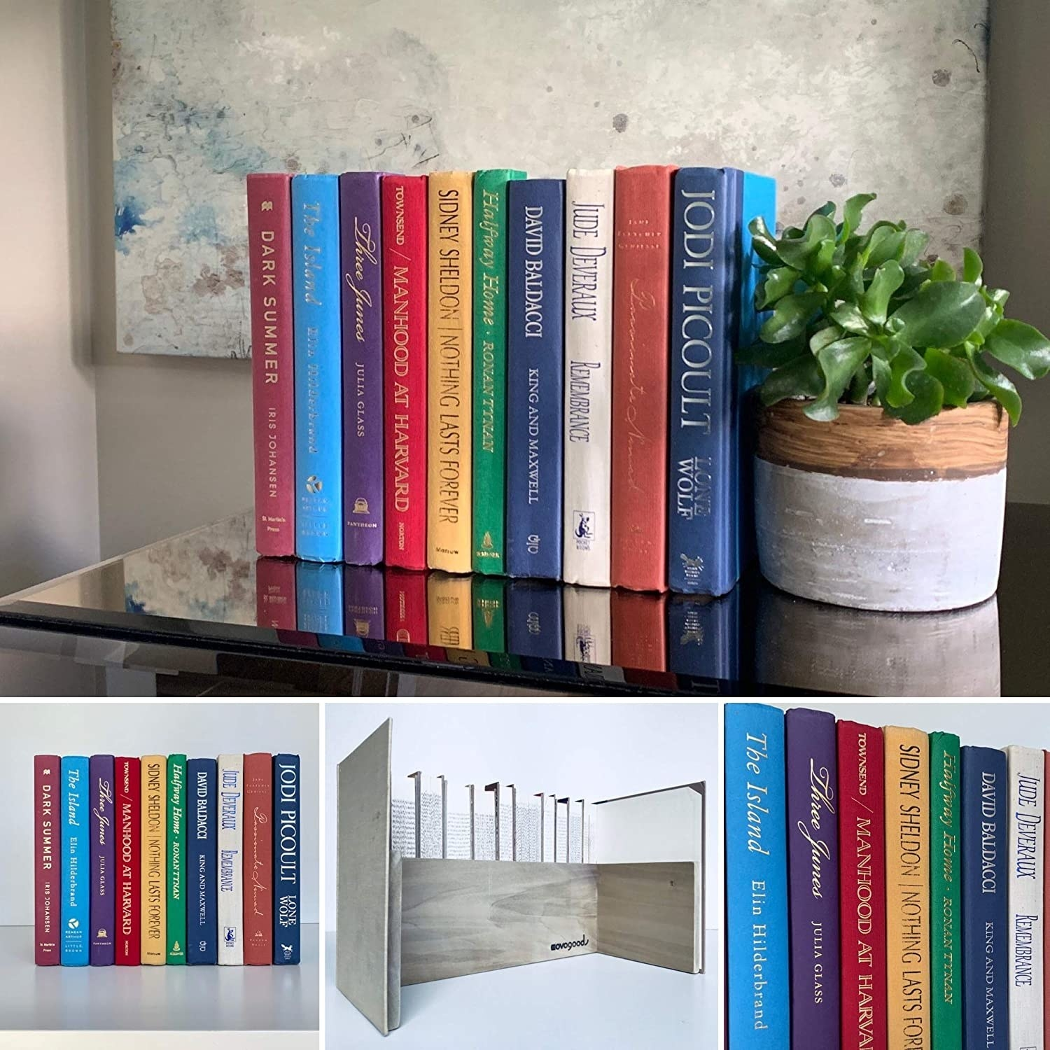the shelf appearing as a stack of used books on a counter, with an image showing the storage space behind the books