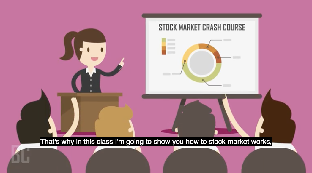 """Screenshot from the class showing """"Stock market crash course"""""""