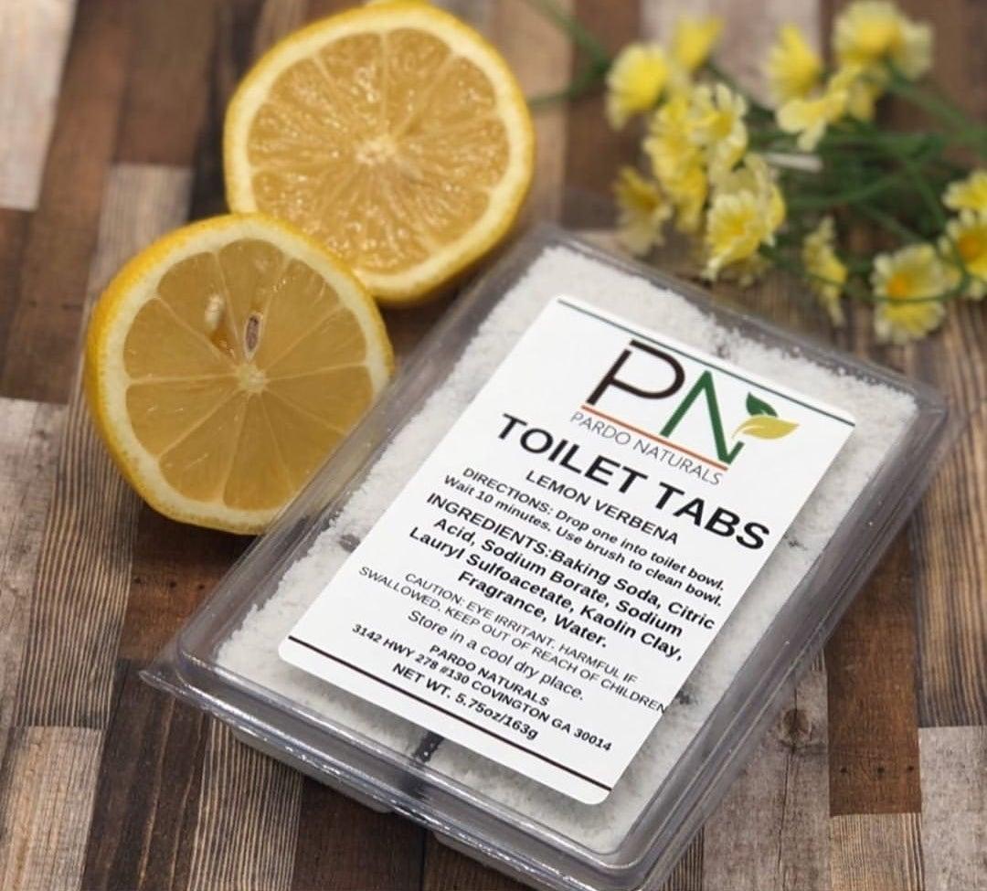 the pack of lemon verbena toilet tabs