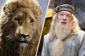 (left) a close up of Aslan the lion looking into the camera; (right) Dumbledore looks upward in thought as he opens his mouth to talk