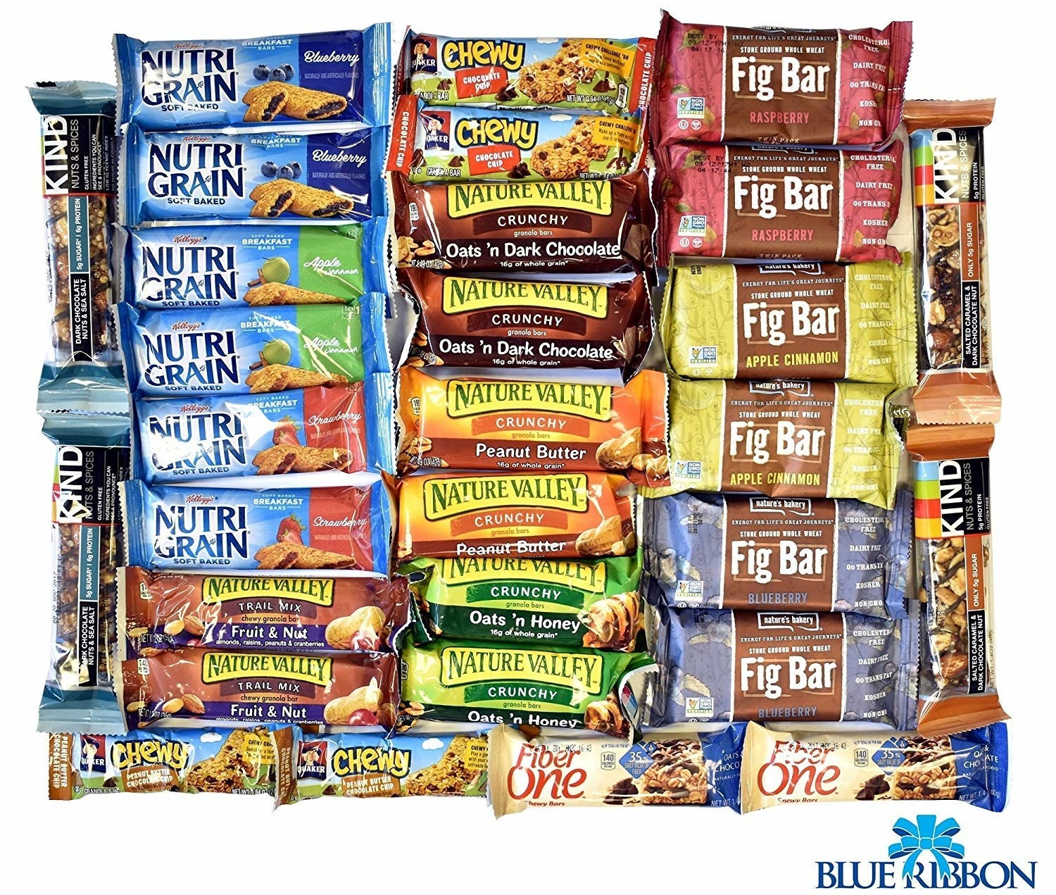 assorted bars like chewy, nutri grain, and nature valley
