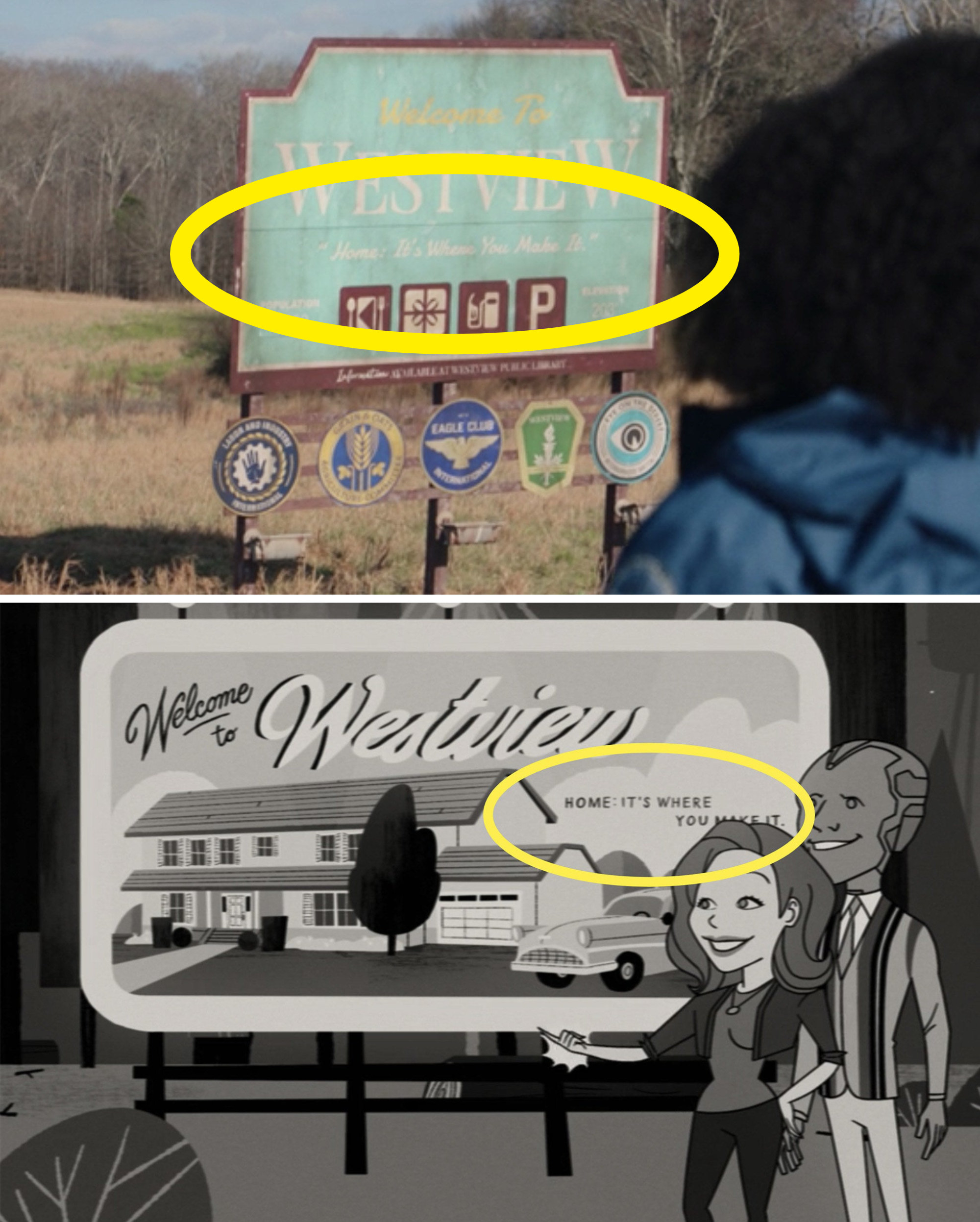 The sign for WestView in real life vs. the sign in the opening credits of WandaVision Episode 2