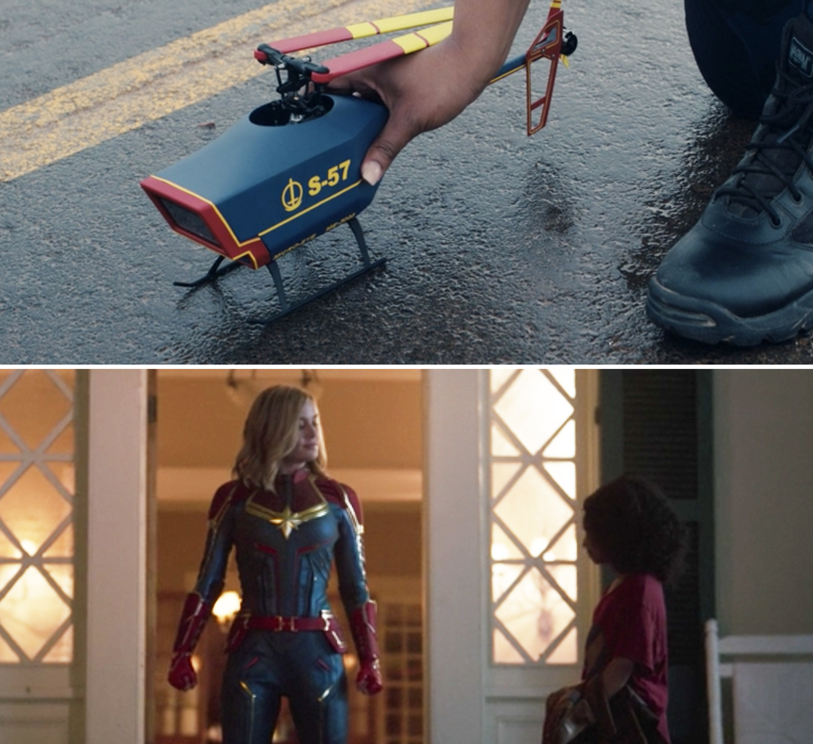 "The red, blue, and yellow drone vs. Captain Marvel's red, blue, and yellow suit in ""Captain Marvel"""