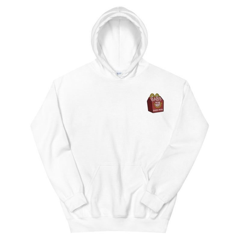 The white pullover hoodie with a front pocket and the small embroidered graphic on the chest