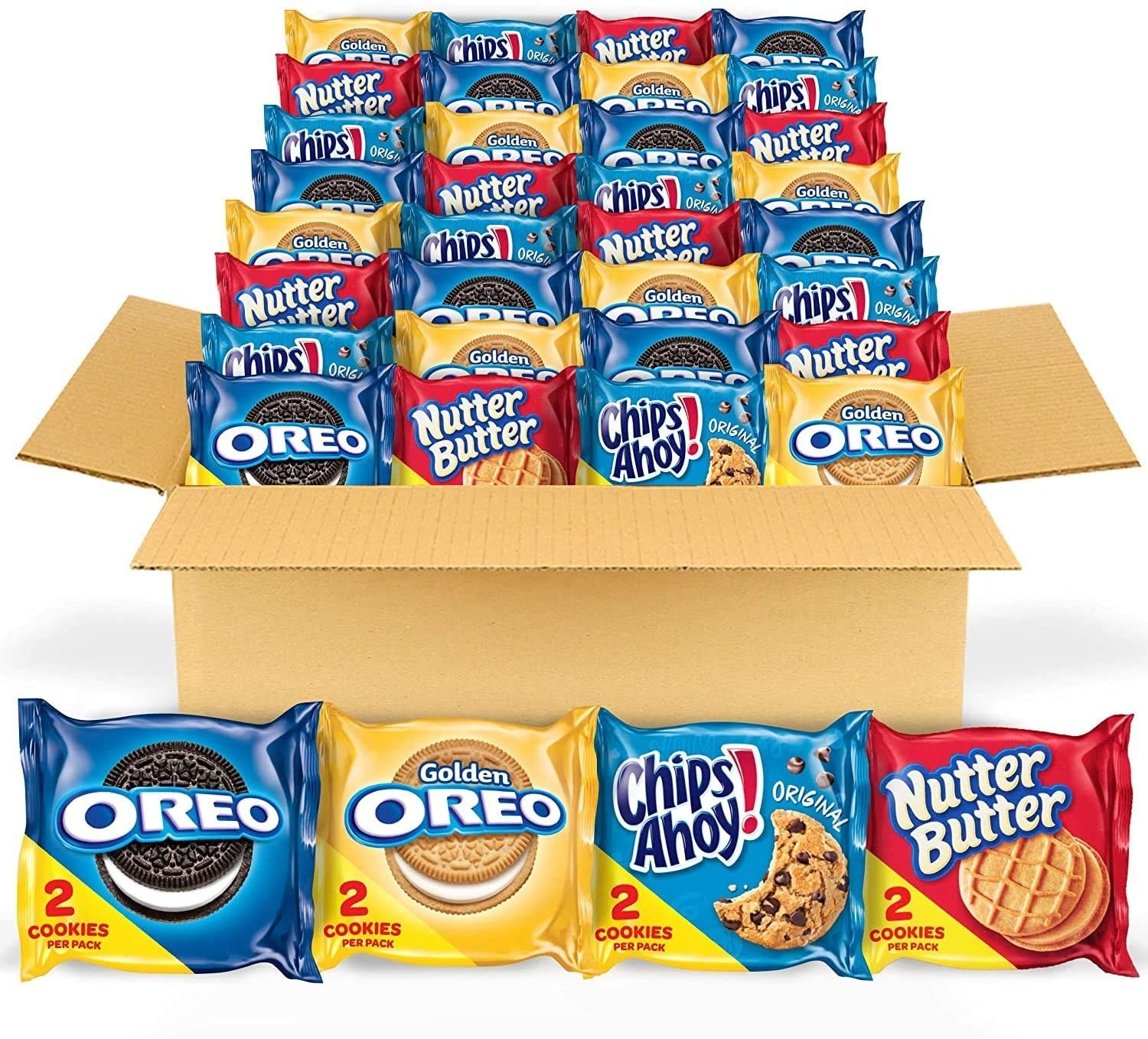 the box filled with oreos, golden oreos, chips ahoy, and nutter butter
