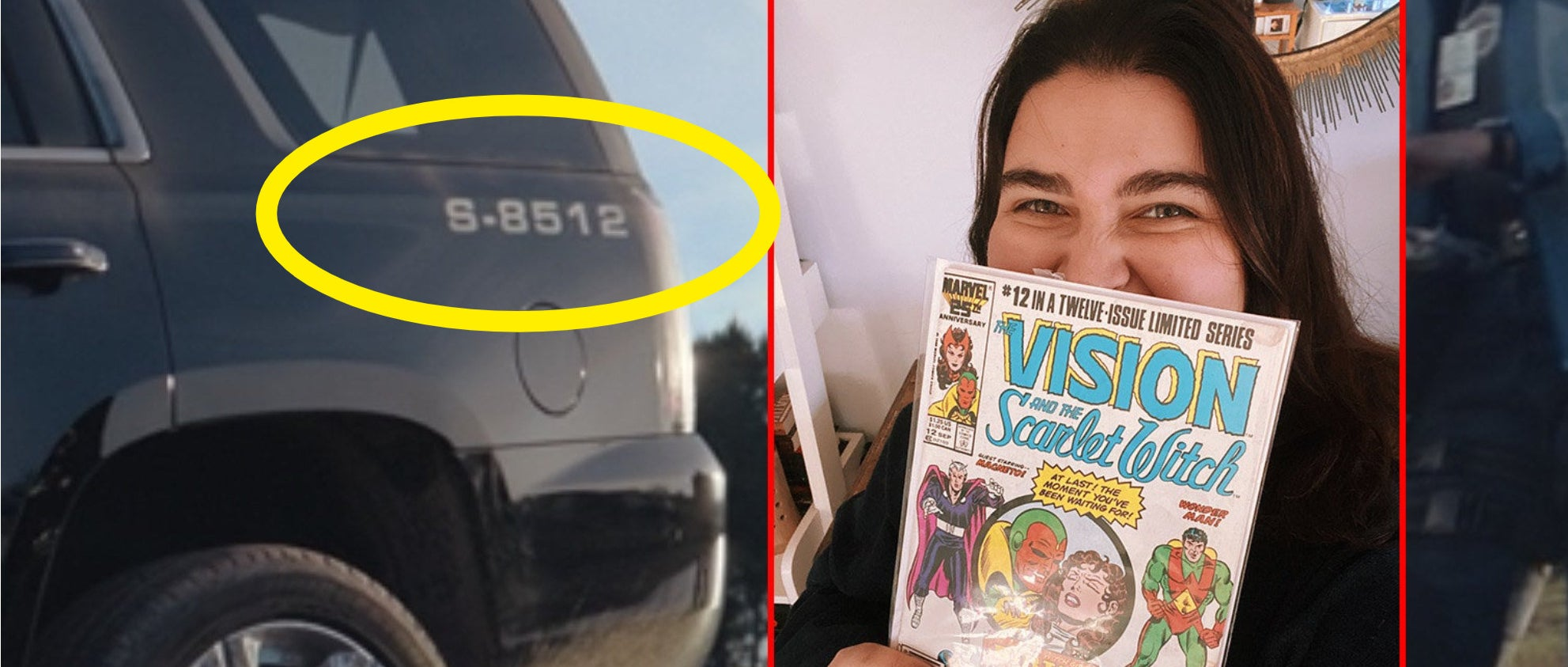 "A circle around the ""S-8512"" on Monica's car and a girl holding up a Vision and the Scarlet Witch comic book"