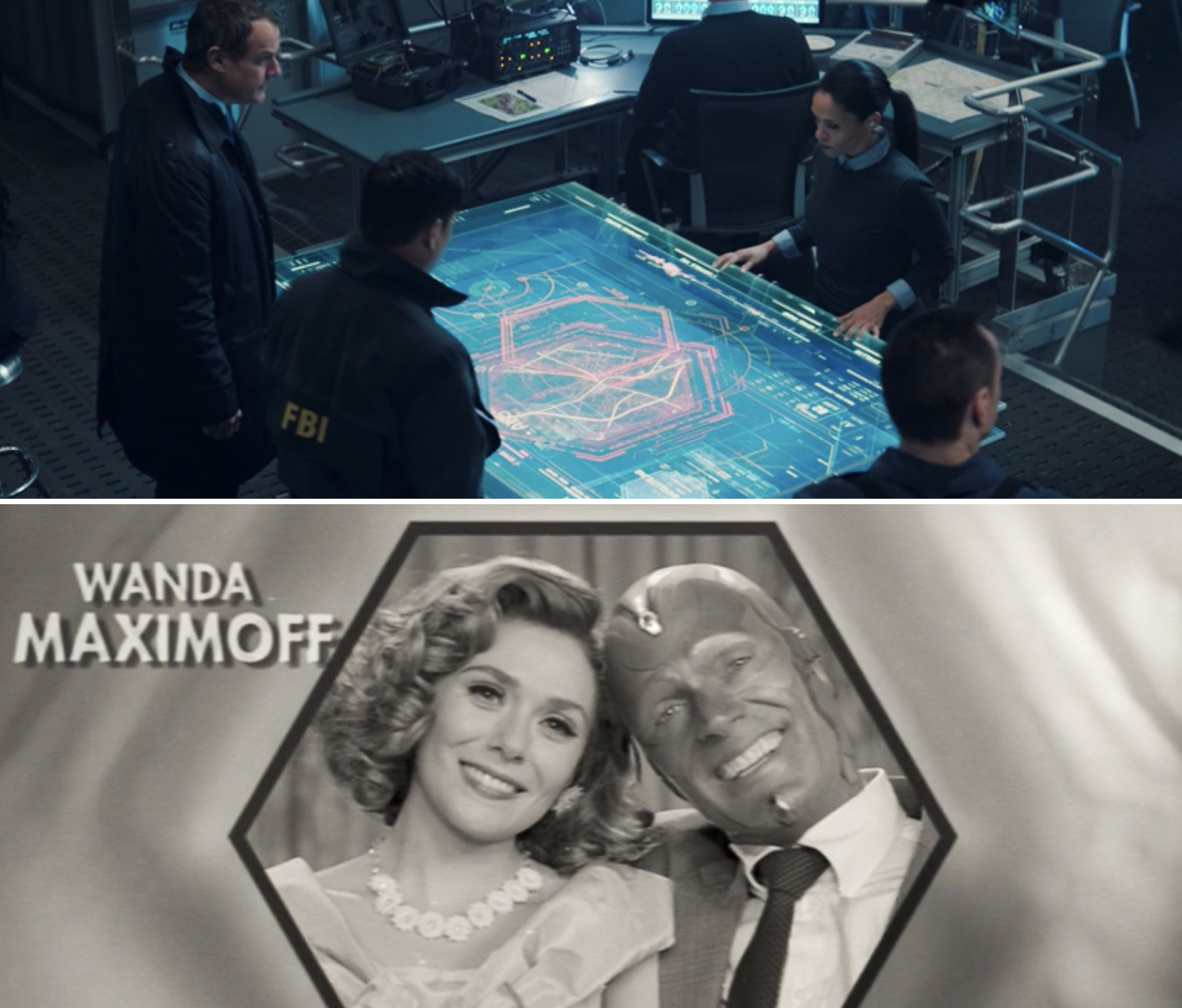"A hexagon shape on a digital map vs. Wanda and Vision smiling inside a hexagon at the end of Episode 1 of ""WandaVision"""