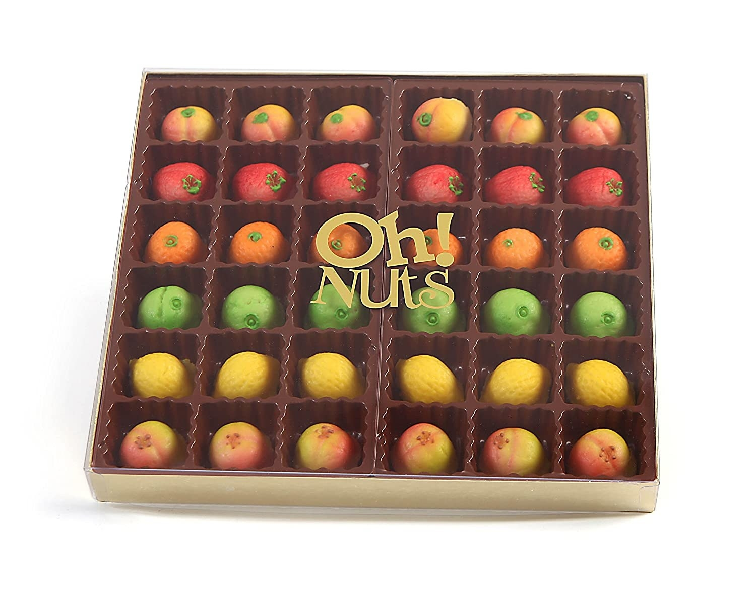 box of marzipan candy shaped like fruit