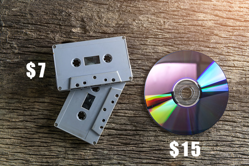 A tape that costs $7 and a CD that costs $15