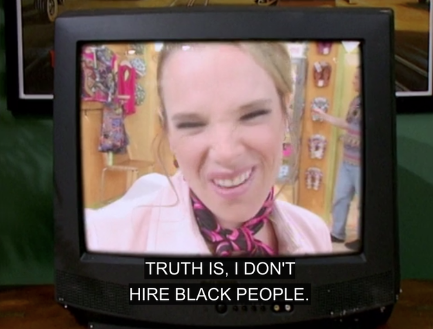 A job recruiter saying she doesn't hire black people