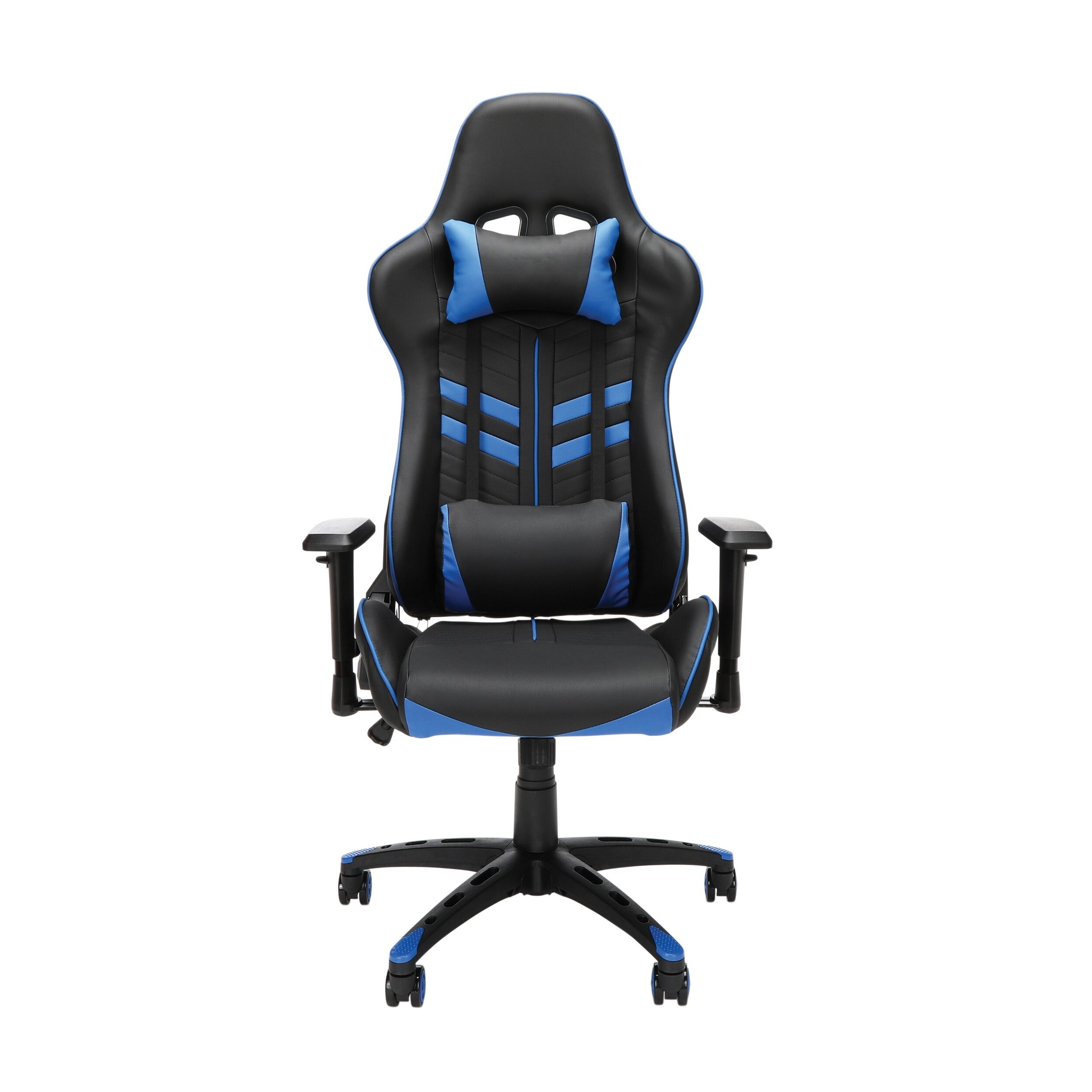 The gaming chair in black and blue