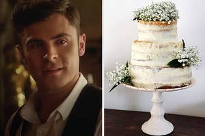 """Zac Efron from """"The Greatest Showman"""" on the left with a vanilla wedding cake on the right"""