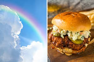 On the left, a rainbow across the sky, and on the right, a fried chicken sandwich