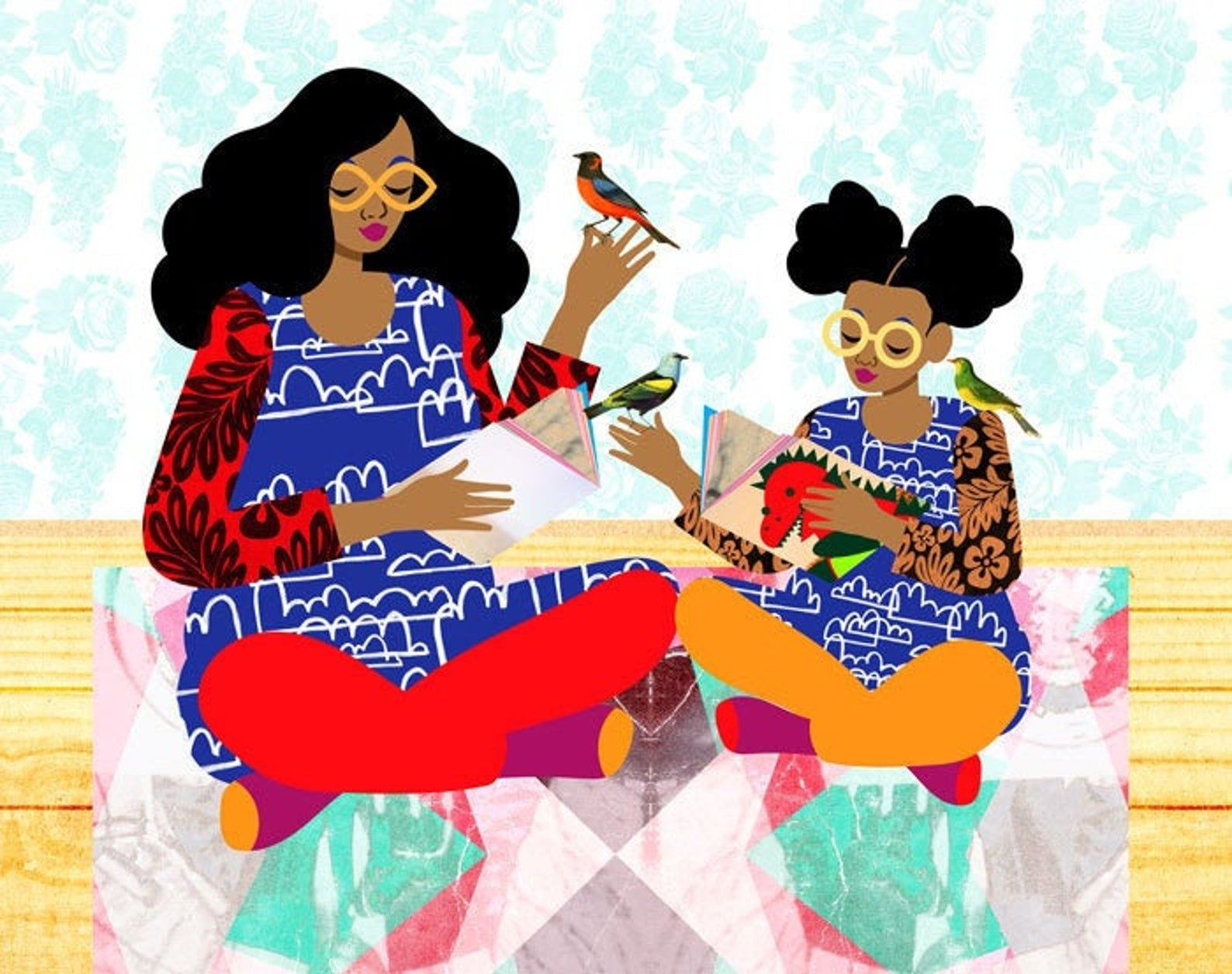 a mom and daughter wearing colorful clothing and both reading books with colorful birds resting on their shoulders and on one of their hands