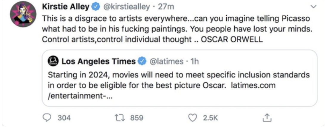 Kirstie Alley criticizing the Oscar's diversity initiative