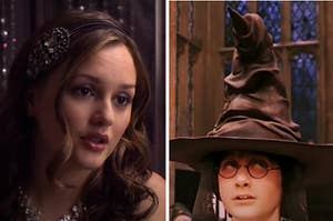 A woman is on the left looking surprised with Harry Potter wearing a sorting hat on the right