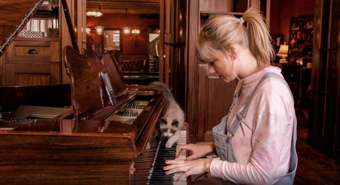 Taylor Swift playing piano with her cat