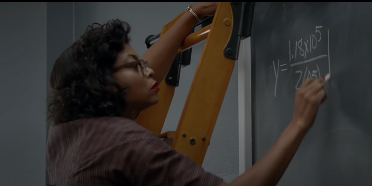 Taraji P. Henson does math equations in the movie