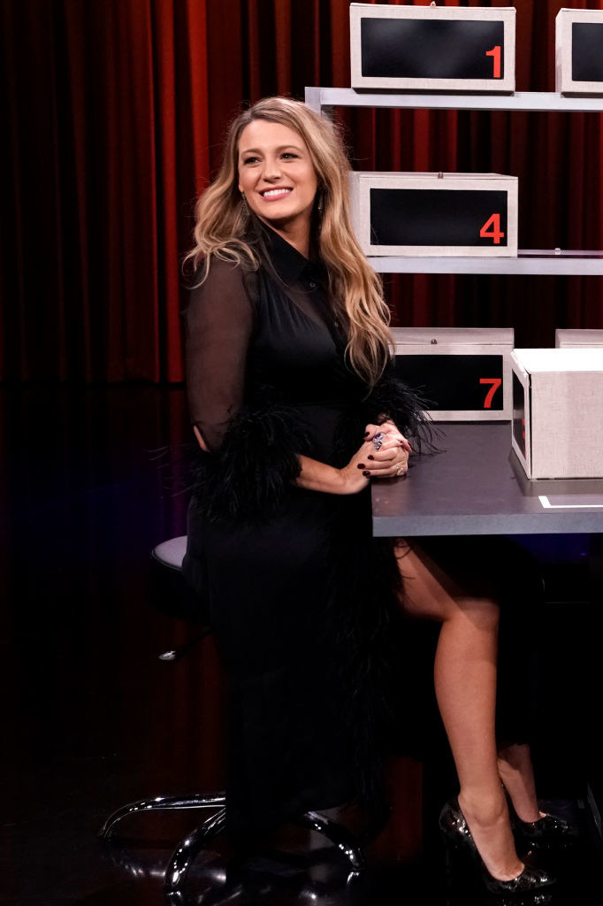 Blake on the Tonight Show in an outfit she styled last year
