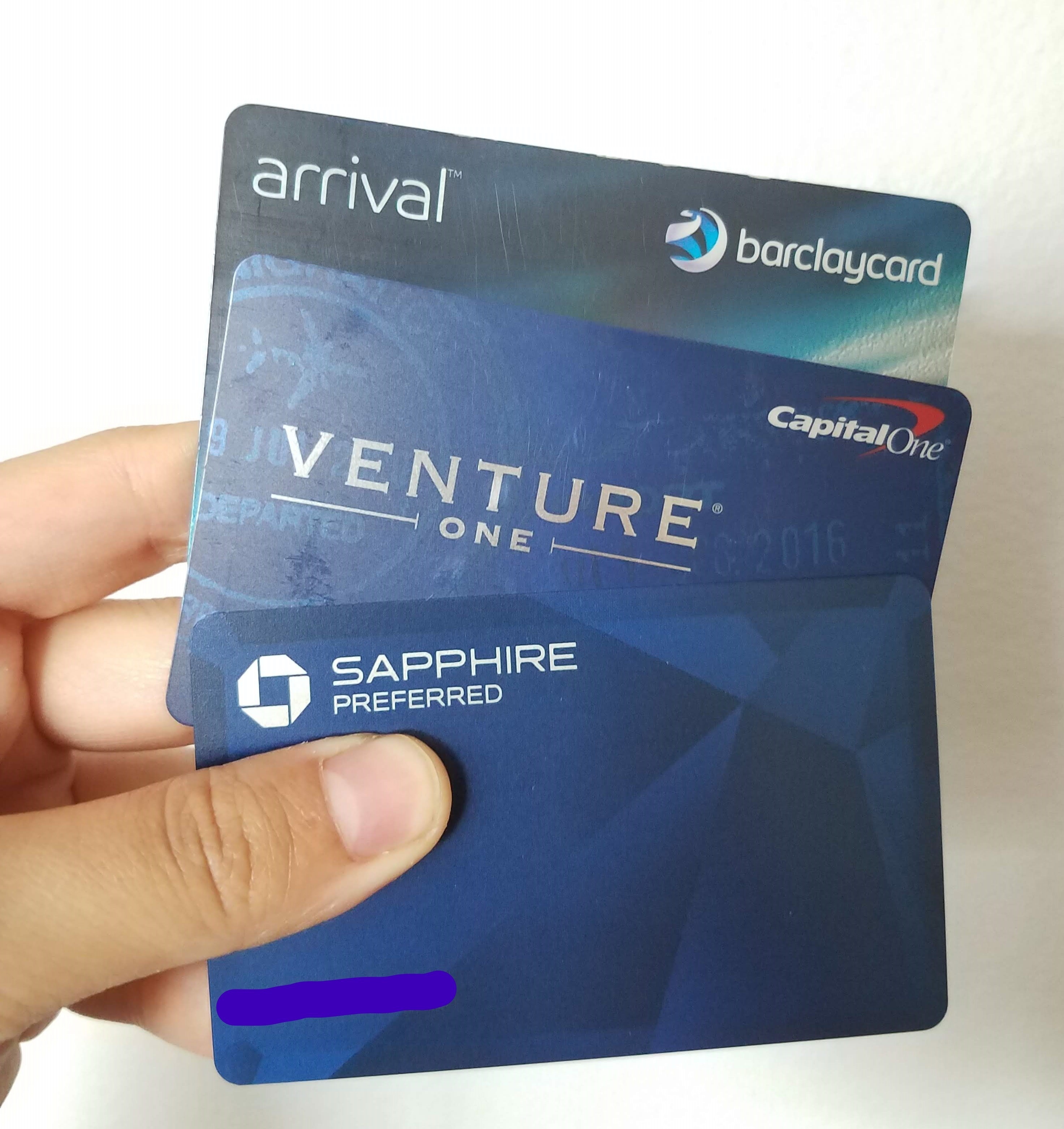 3 credit cards: Barclay Arrival, Capital One Venture, and Chase Sapphire