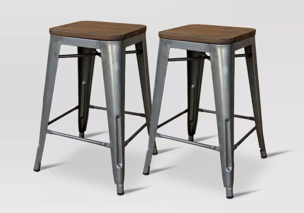 Metal backless barstools with wooden seat