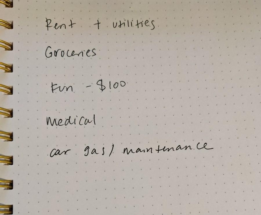 List of categories I'd spend money on