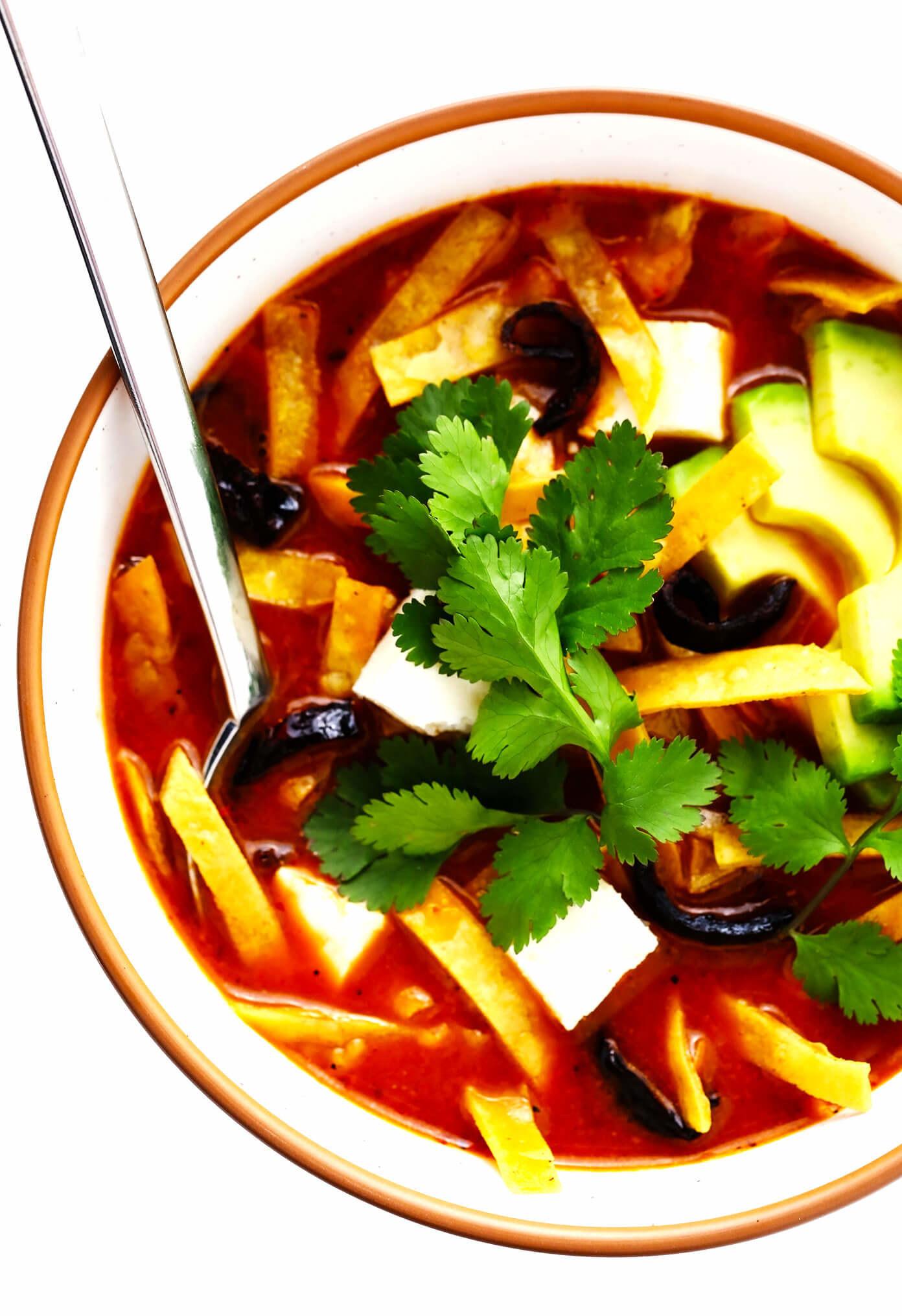 Sopa Azteca in a bowl