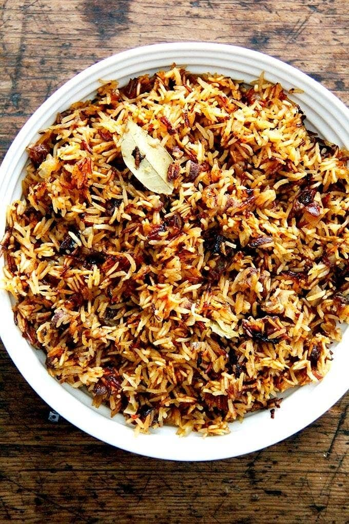 Plated Instant Pot Moroccan Rice With Harissa, Dates, and Orange