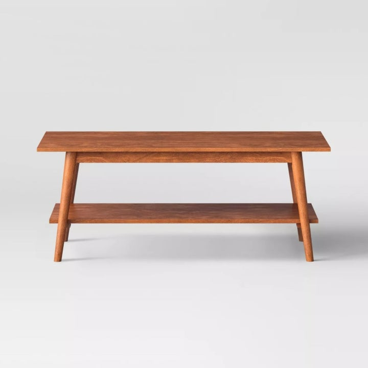 A wooden coffee table