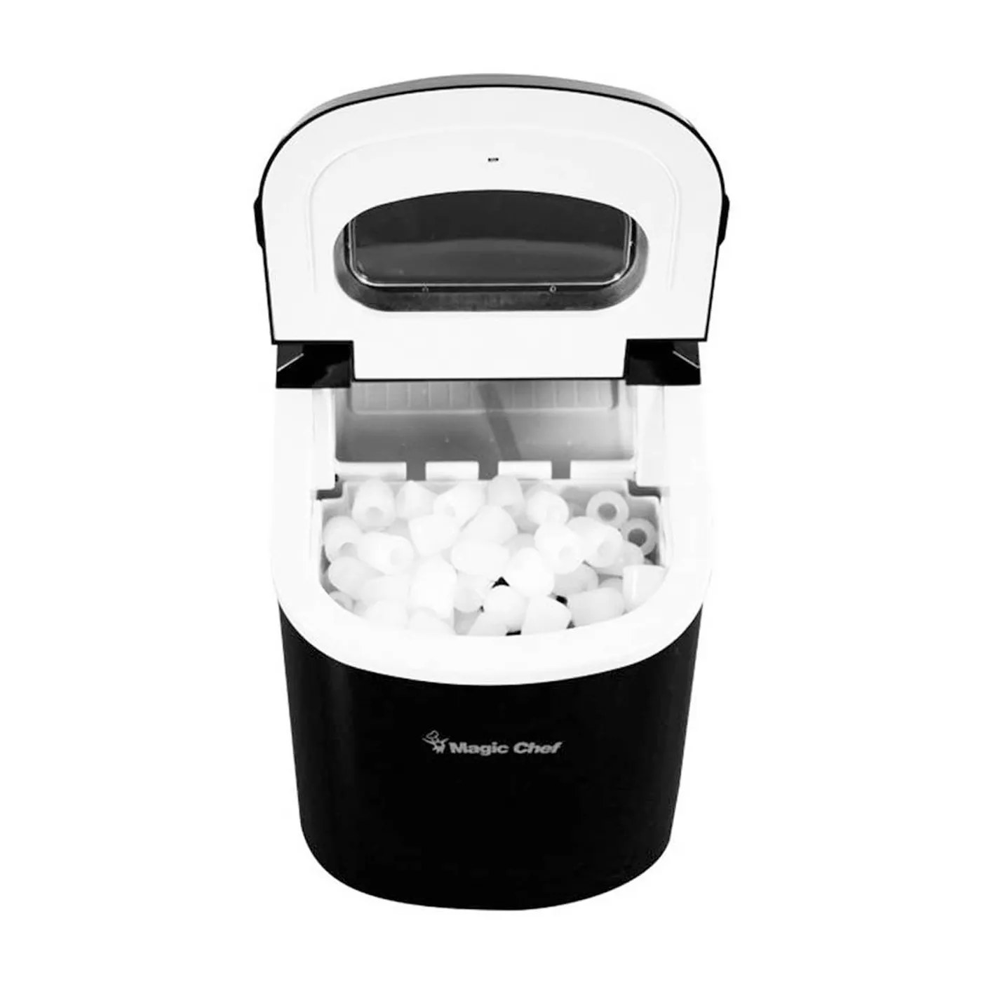 The black Magic Chef ice maker full of ice