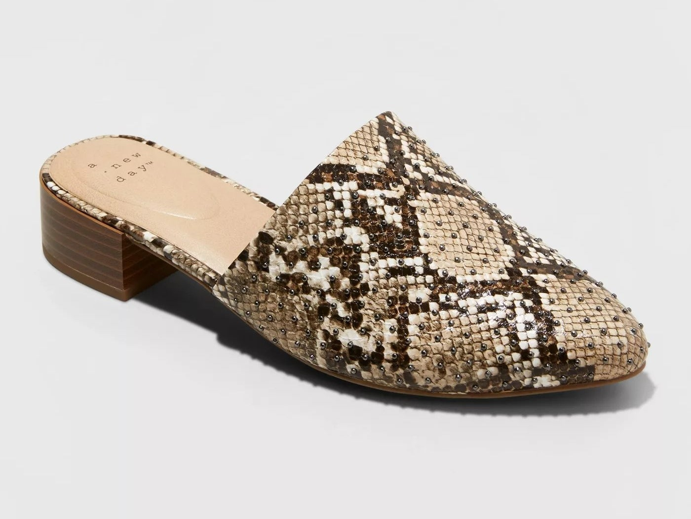 The studded snakeskin mules from A New Day