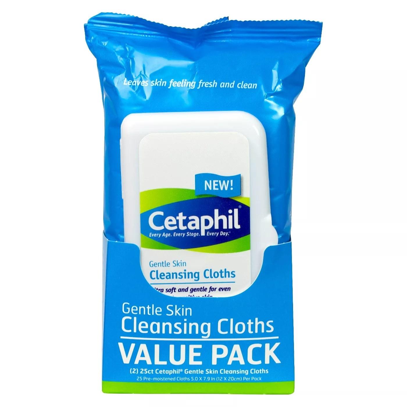 2 packs of 25 Cetaphil gentle skin cleansing cloths