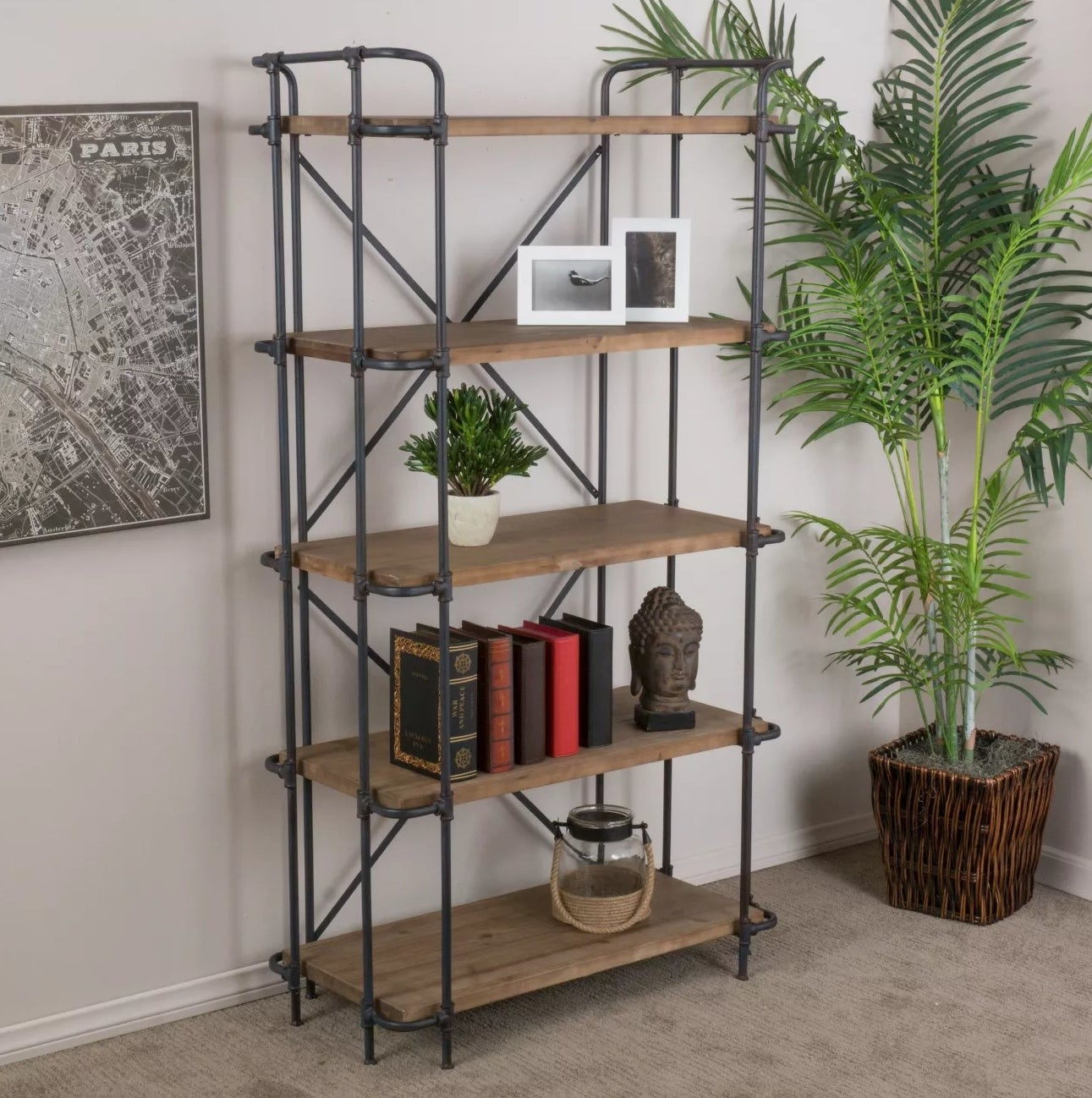 The bookcase with an iron pipe frame and wood shelves