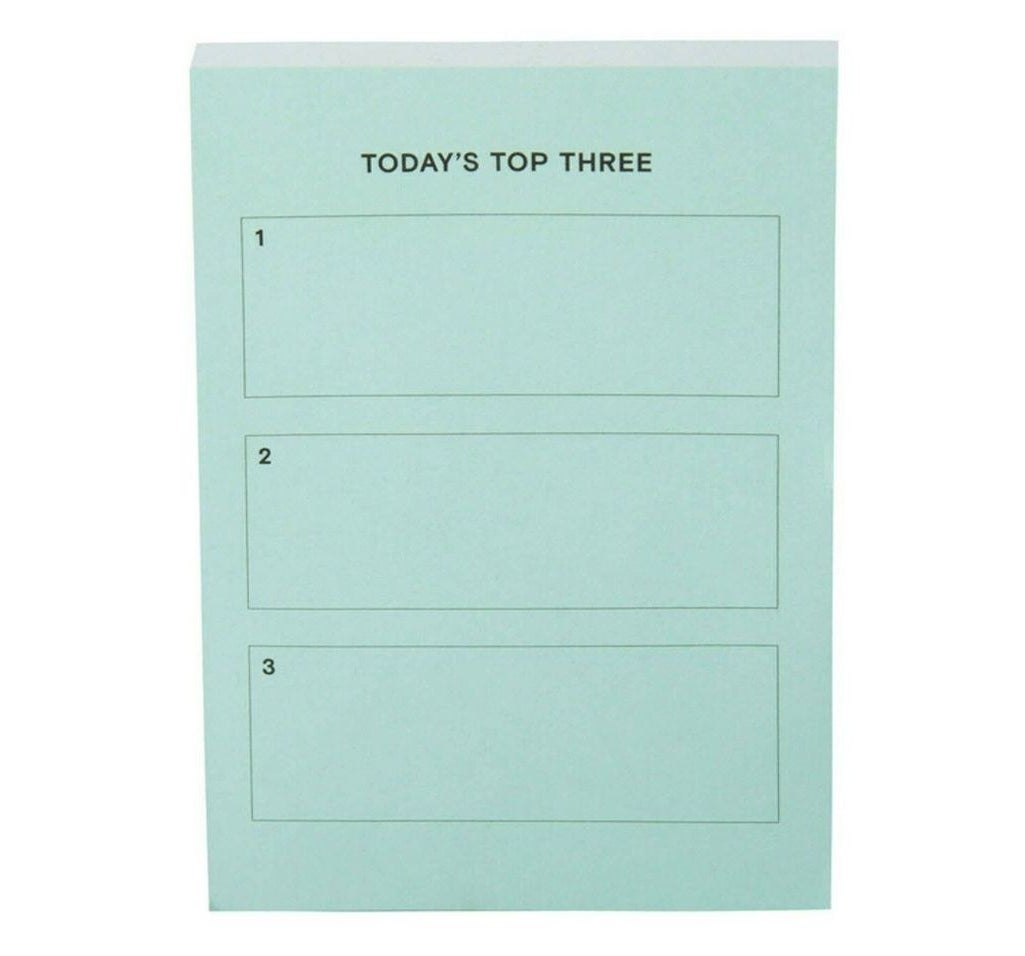 "The mint green pad with three spaces and the heading ""Today's top three"""
