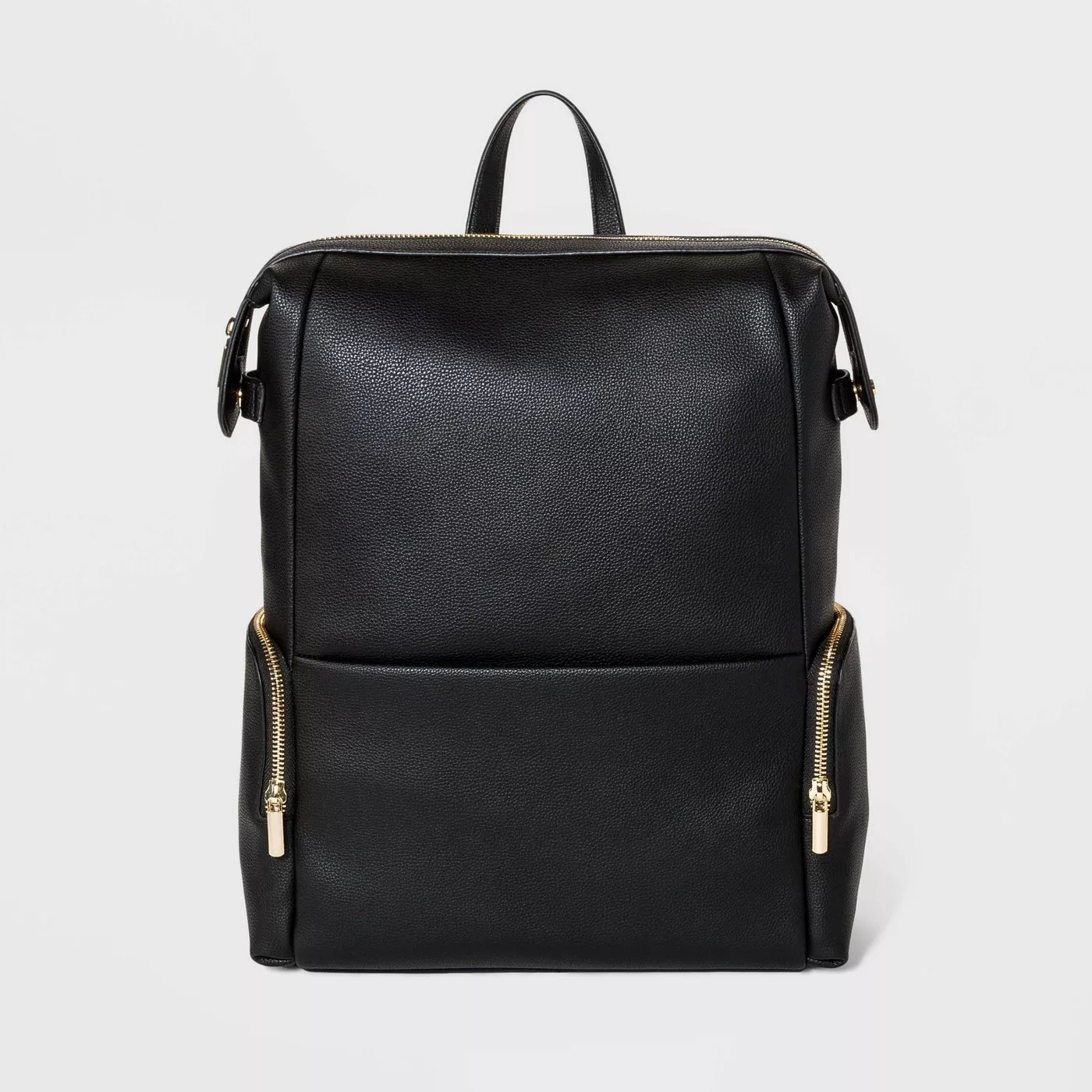 The black backpack with zip closures and three smaller compartments