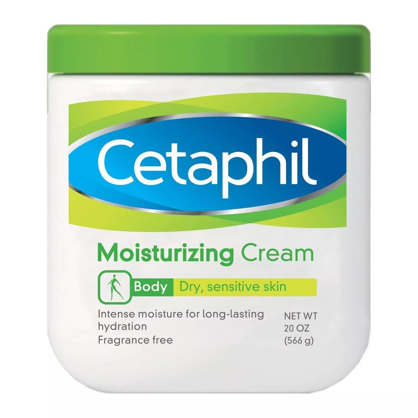 20-oz jar of fragrance-free Cetaphil moisturizing cream for dry, sensitive skin