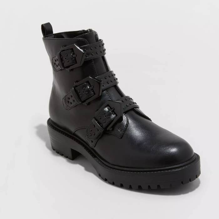 The black boots with three studded straps