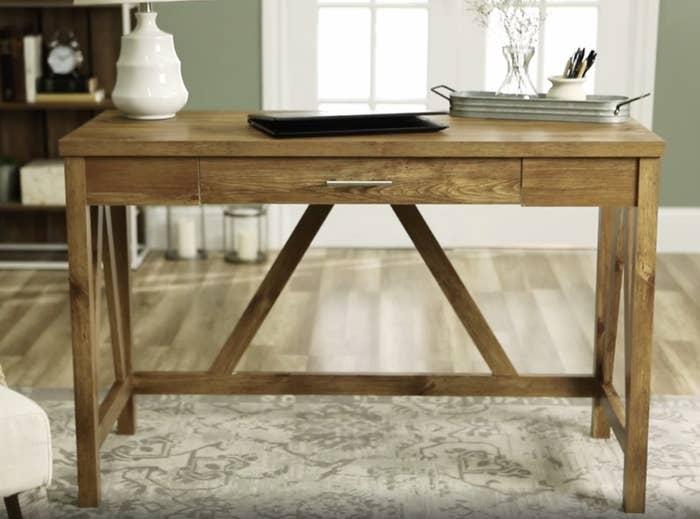 A light wood desk
