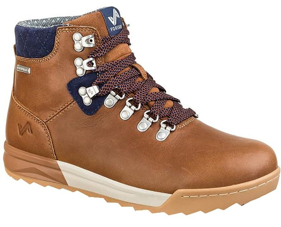 a tan sneaker boot with blue accents and lace