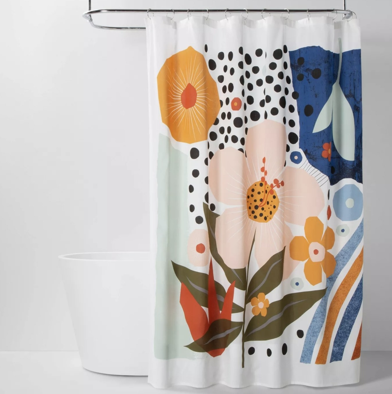 The shower curtain with bold shapes and patterns