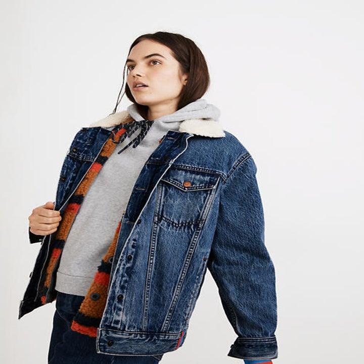 model wearing the sherpa denim jacket