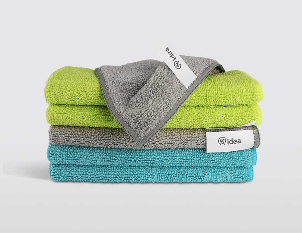 A stack of microfibre cleaning cloths