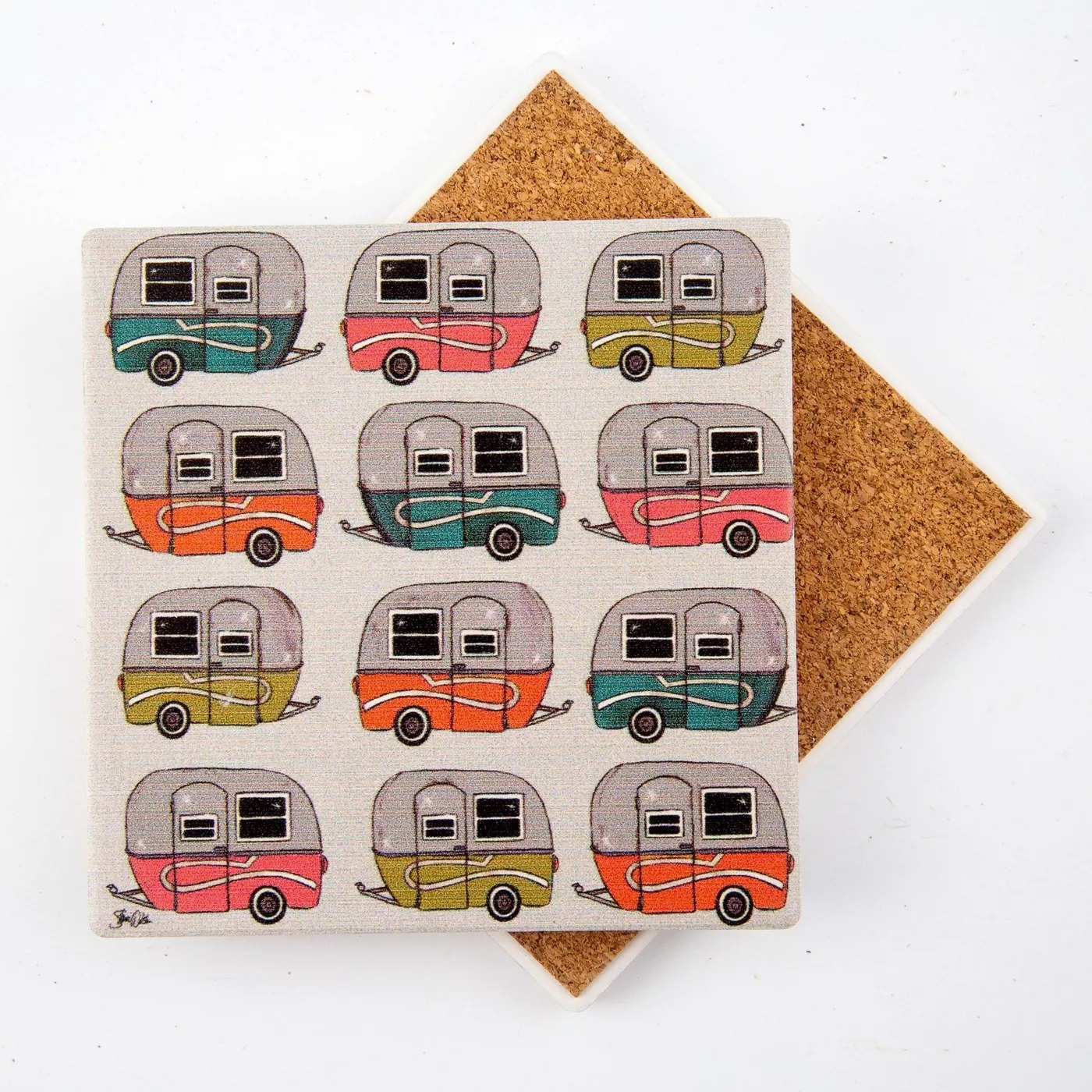 """The coaster placed face-up to better display its """"camper"""" prints"""